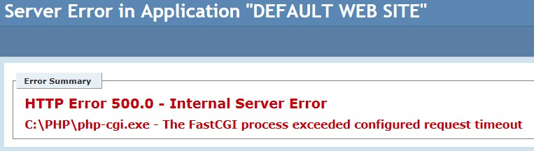 IIS 7 0 - The FastCGI process exceeded configured request