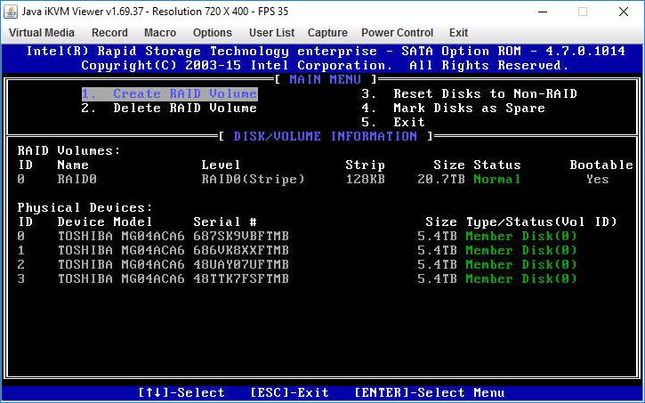 Supermicro: Intel Rapid Storage — настройка RAID для Legacy